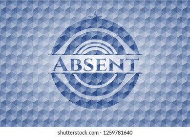 Absent blue emblem or badge with geometric pattern background.