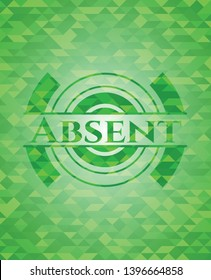 Absent green mosaic emblem. Vector Illustration. Detailed.