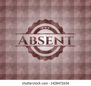 Absent red emblem or badge with geometric pattern background. Seamless.