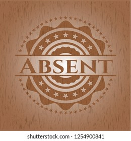 Absent retro wooden emblem