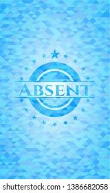 Absent sky blue emblem. Mosaic background