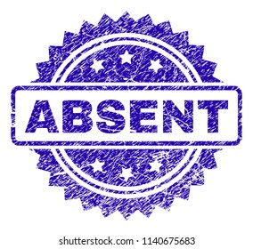 ABSENT stamp imprint with dirty style. Blue vector rubber seal print of ABSENT caption with dirty texture.