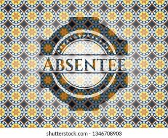 Absentee arabic badge background. Arabesque decoration.