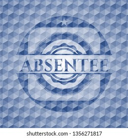 Absentee blue badge with geometric pattern.
