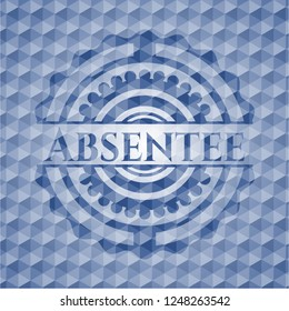 Absentee blue emblem with geometric pattern.