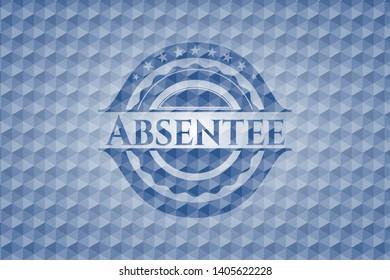 Absentee blue hexagon badge. Vector Illustration. Detailed.