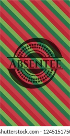 Absentee christmas colors style badge.