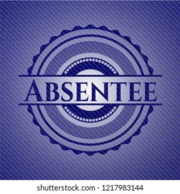 Absentee emblem with jean background