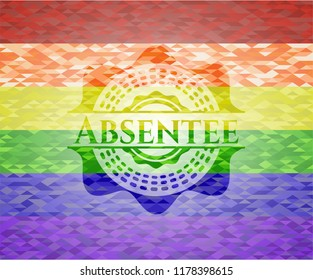 Absentee emblem on mosaic background with the colors of the LGBT flag