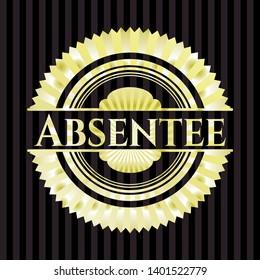 Absentee gold shiny emblem. Vector Illustration. Detailed.