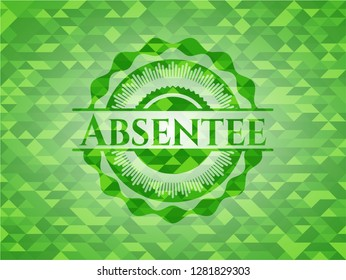 Absentee green emblem with triangle mosaic background