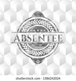 Absentee grey emblem with geometric cube white background