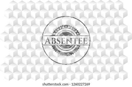 Absentee grey emblem. Retro with geometric cube white background