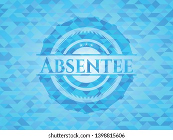 Absentee light blue emblem with triangle mosaic background