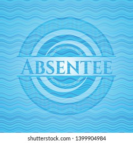 Absentee light blue water wave badge. Vector Illustration. Detailed.