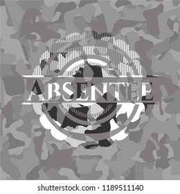 Absentee on grey camouflage texture