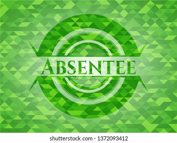 Absentee realistic green mosaic emblem