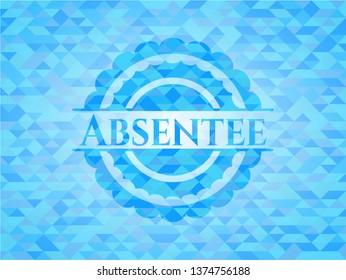 Absentee realistic light blue mosaic emblem