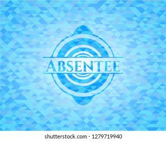 Absentee realistic sky blue mosaic emblem