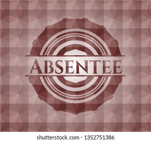 Absentee red badge with geometric background. Seamless.