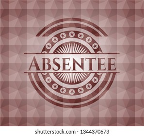 Absentee red seamless polygonal badge.