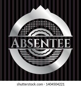 Absentee silvery shiny badge. Vector Illustration. Mosaic.