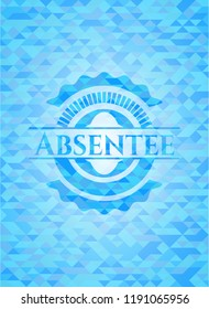 Absentee sky blue emblem with mosaic ecological style background