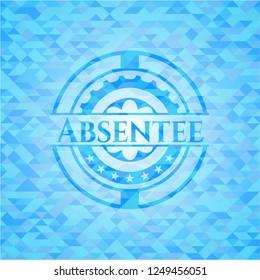 Absentee sky blue emblem. Mosaic background