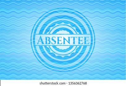 Absentee water badge background.