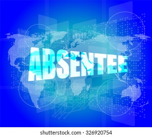 absentee word on digital touch screen vector illustration
