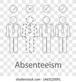 Absenteeism icon on transparency background. Modern flat design vector illustration. Symbol for your web site design.