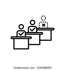 absentees, attendance icon illustration vector