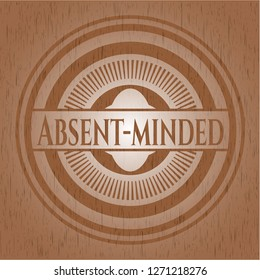 Absent-minded badge with wood background