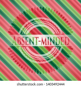 Absent-minded christmas badge background. Vector Illustration. Detailed.