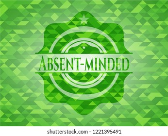 Absent-minded green emblem with mosaic background