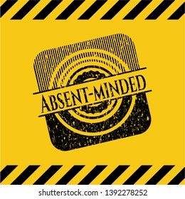 Absent-minded grunge warning sign emblem. Vector Illustration. Detailed.