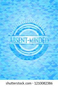 Absent-minded light blue emblem. Mosaic background