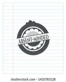 Absent-minded pencil strokes emblem. Vector Illustration. Detailed.