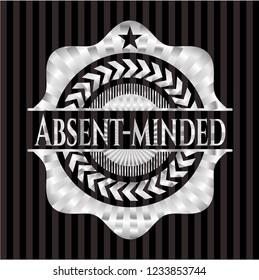 Absent-minded silver shiny emblem