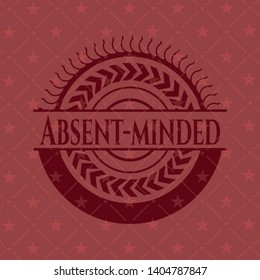 Absent-minded vintage red emblem. Vector Illustration. Detailed.