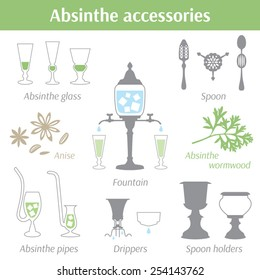 Absinthe accessories vector illustration icons set. Glass, spoon, drippers, fountain, pipes, spoon holders, anise seeds and absinthe wormwood
