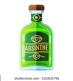 Absinthe bottle alcoholic beverage flat icon, vector sign, colorful pictogram isolated on white. Symbol, logo illustration. Flat style design