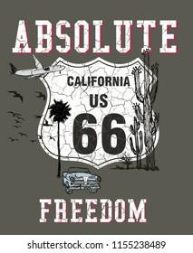 Absolute freedom California graphic design vector art