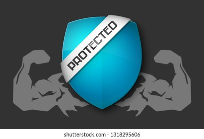 Absolute protection guard shield arm concept. Safety vector badge abstract protection icon. Privacy banner hand shield. Security label sign. Defense tag presentation sticker arm shield safeguard sign