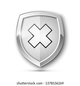 Absolute protection guard shield cross concept. Safety vector badge abstract protection icon Privacy banner shield. Security cross label sign. Defense tag presentation sticker mark shield safeguard