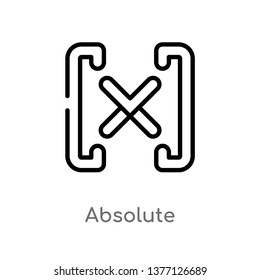 absolute vector line icon. Simple element illustration. absolute outline icon from signs concept. Can be used for web and mobile