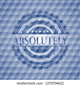 Absolutely blue emblem or badge with abstract geometric pattern background.