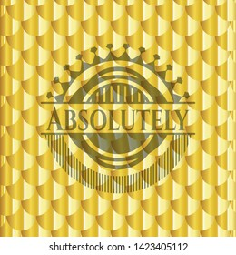 Absolutely gold shiny emblem. Scales pattern. Vector Illustration. Detailed.