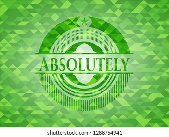 Absolutely green emblem. Mosaic background