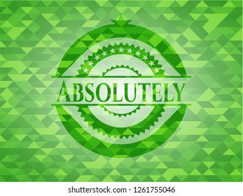 Absolutely green emblem with mosaic ecological style background